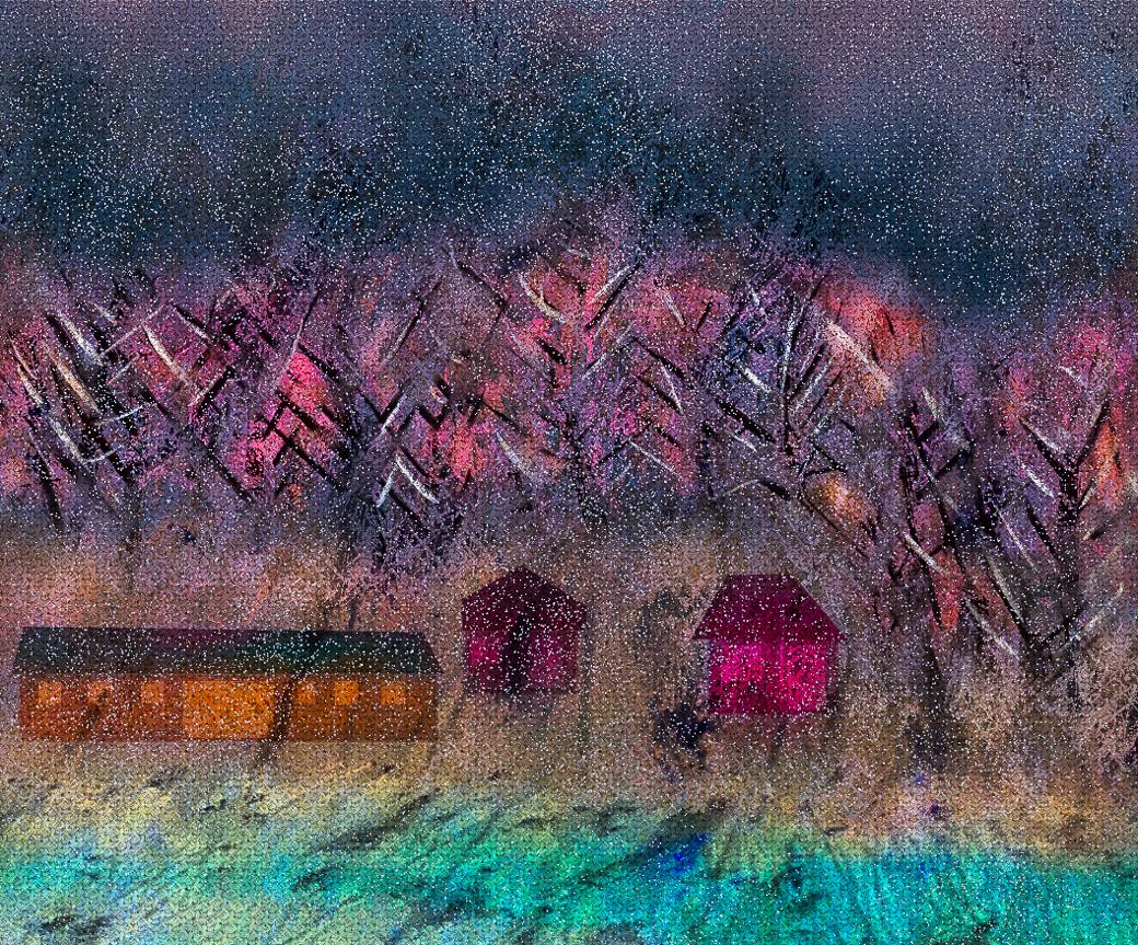 Snowy wood barns
