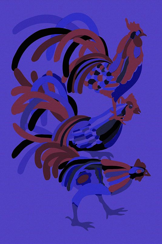 Three Roosters on Purple