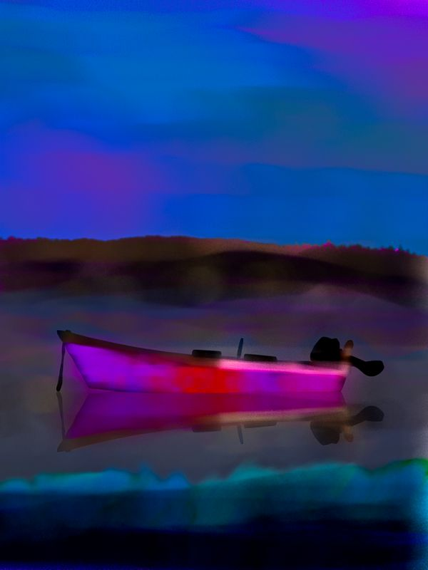 Magenta Boat / Digital Oils / provincetown september 2011