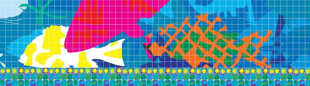 Design Study for Hand Painted Glazed Tile Murals Al-Seef Markets Kuwait