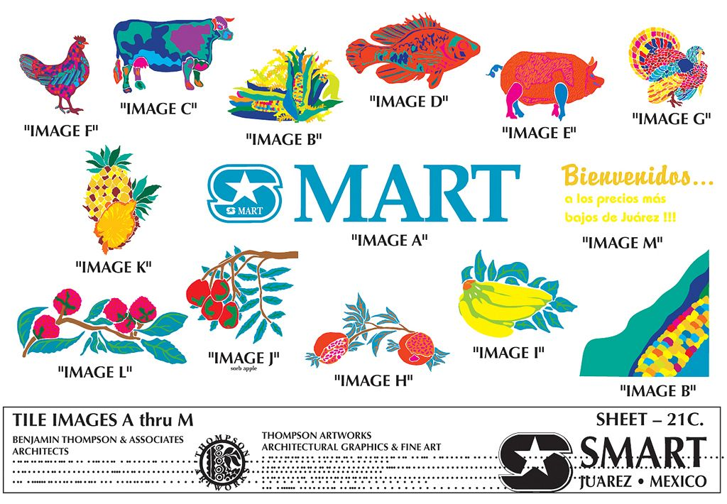 S-Mart Supermarkets / Juarez Mexico / Hand painted Glazed Tile Murals