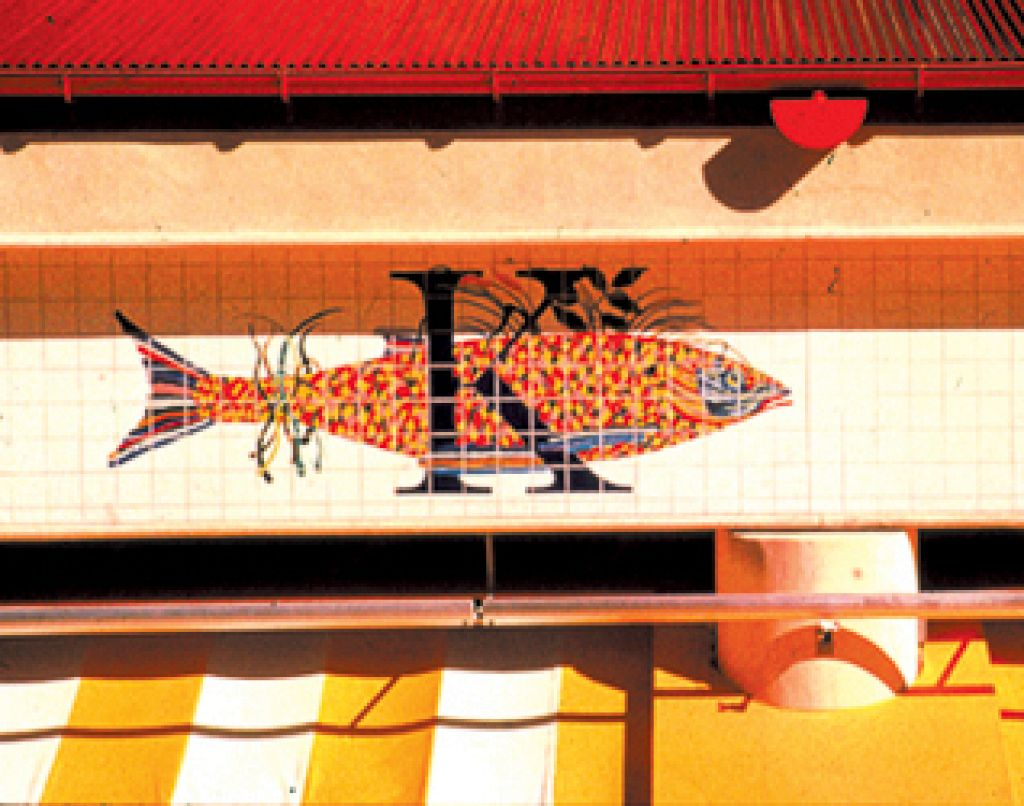 Century City Marketplace / Hand Painted Glazed Tile Mural