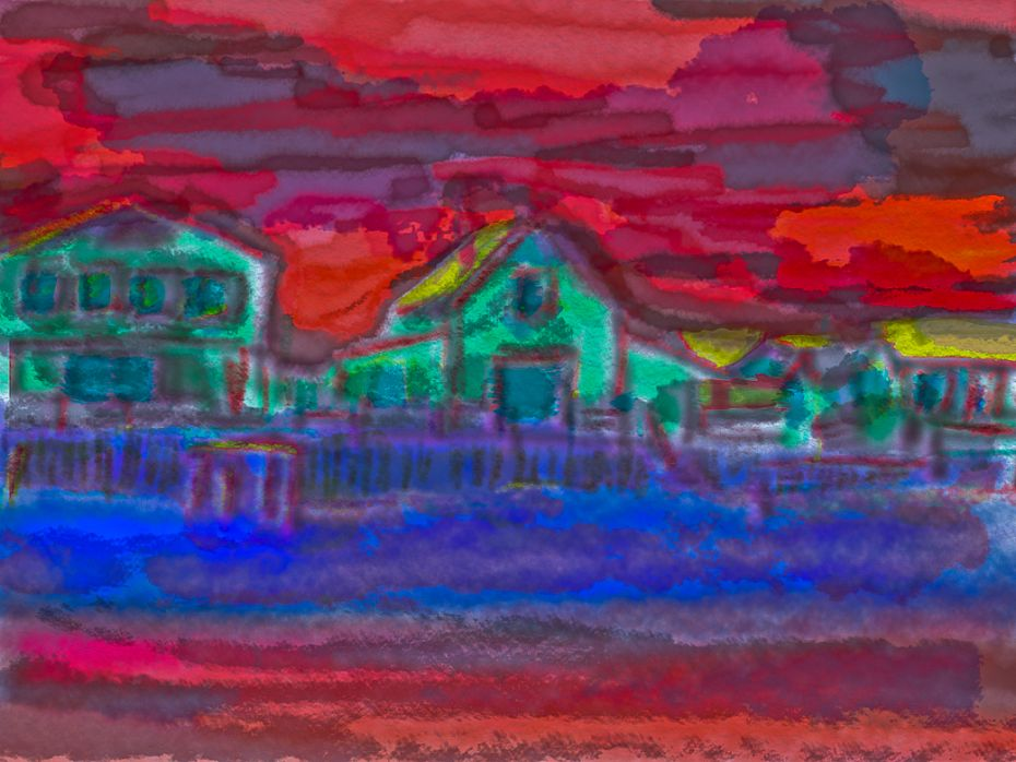 Sandy Neck Village Summer 2011 / digital watercolor from photo
