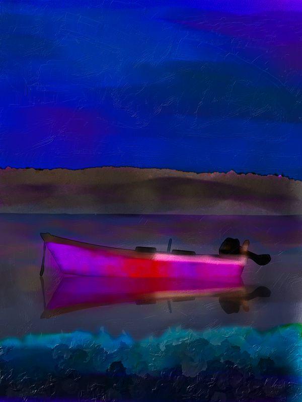 Magenta Boat / Digital Oils & Impasto / provincetown september 2011